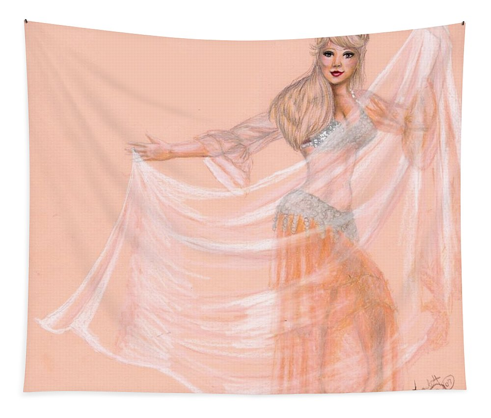 Belly Dancer Tapestry featuring the drawing Peachy Dancer by Scarlett Royal