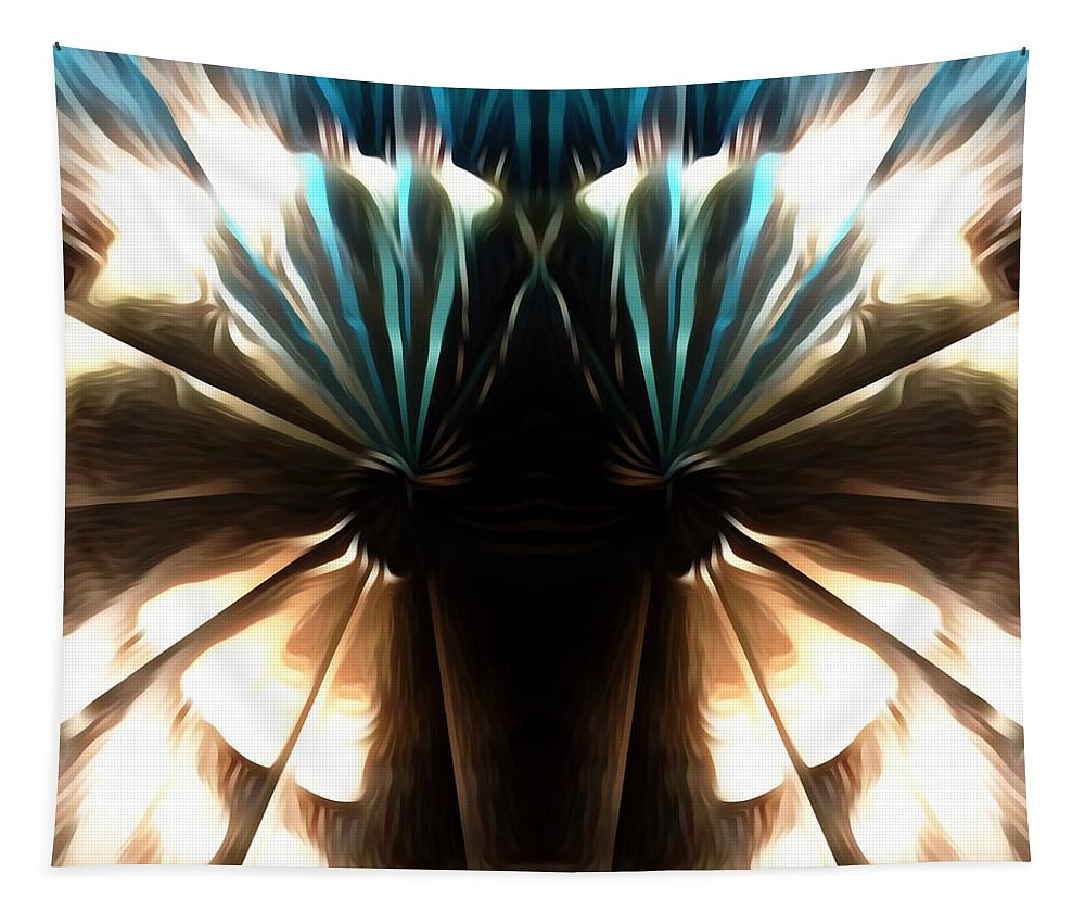 Abstract Tapestry featuring the digital art Peacock Art In Abstract by Debra Lynch