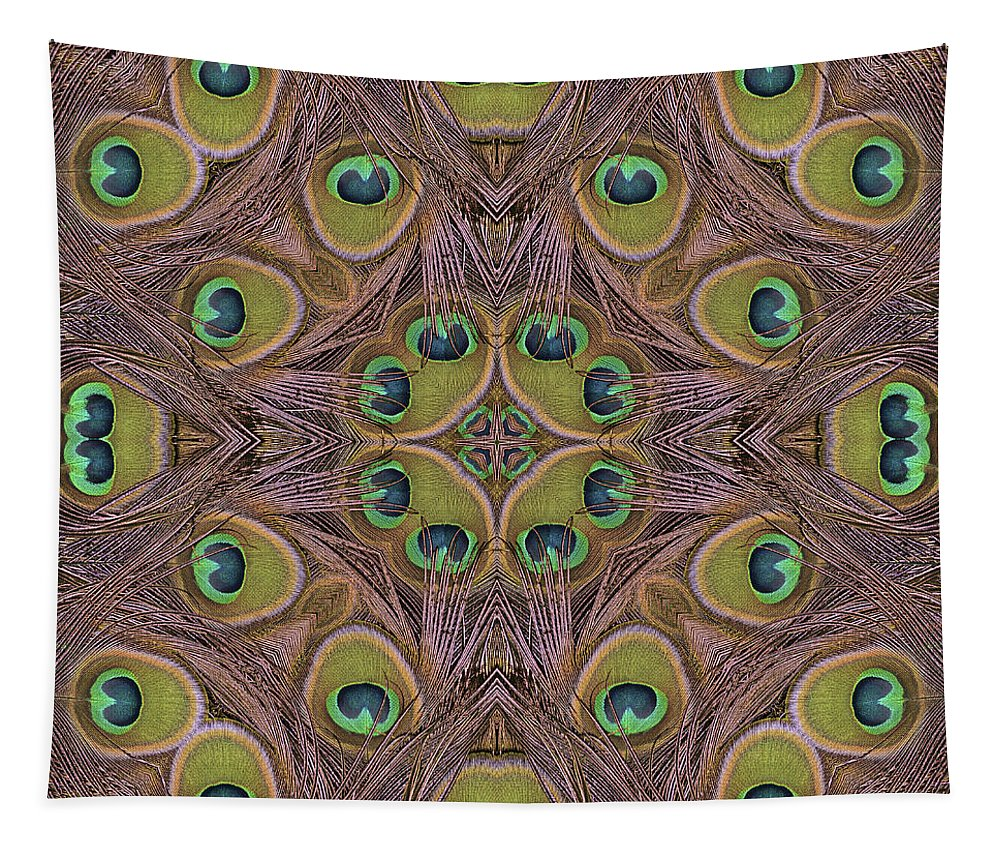 Abstract Tapestry featuring the photograph Peacock Feather Mandala by Marv Vandehey
