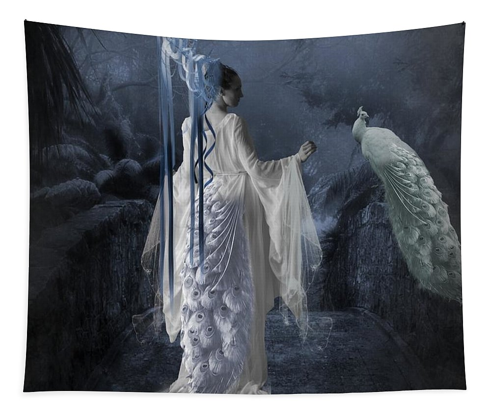 Fantasy Tapestry featuring the digital art Peacock Lady by Ali Oppy
