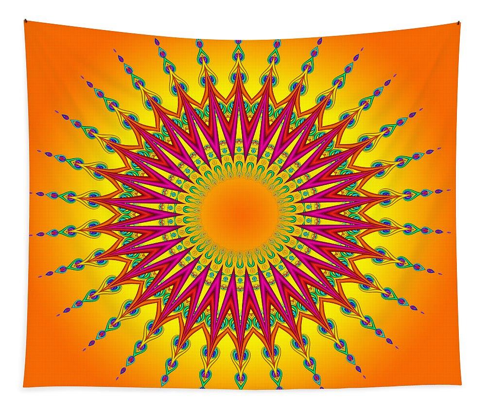 Peacock Tapestry featuring the digital art Peacock Sun Mandala Fractal by Ruth Moratz