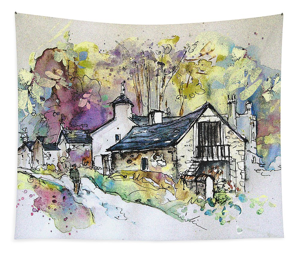 Peak District Tapestry featuring the painting Peak District 09 B by Miki De Goodaboom