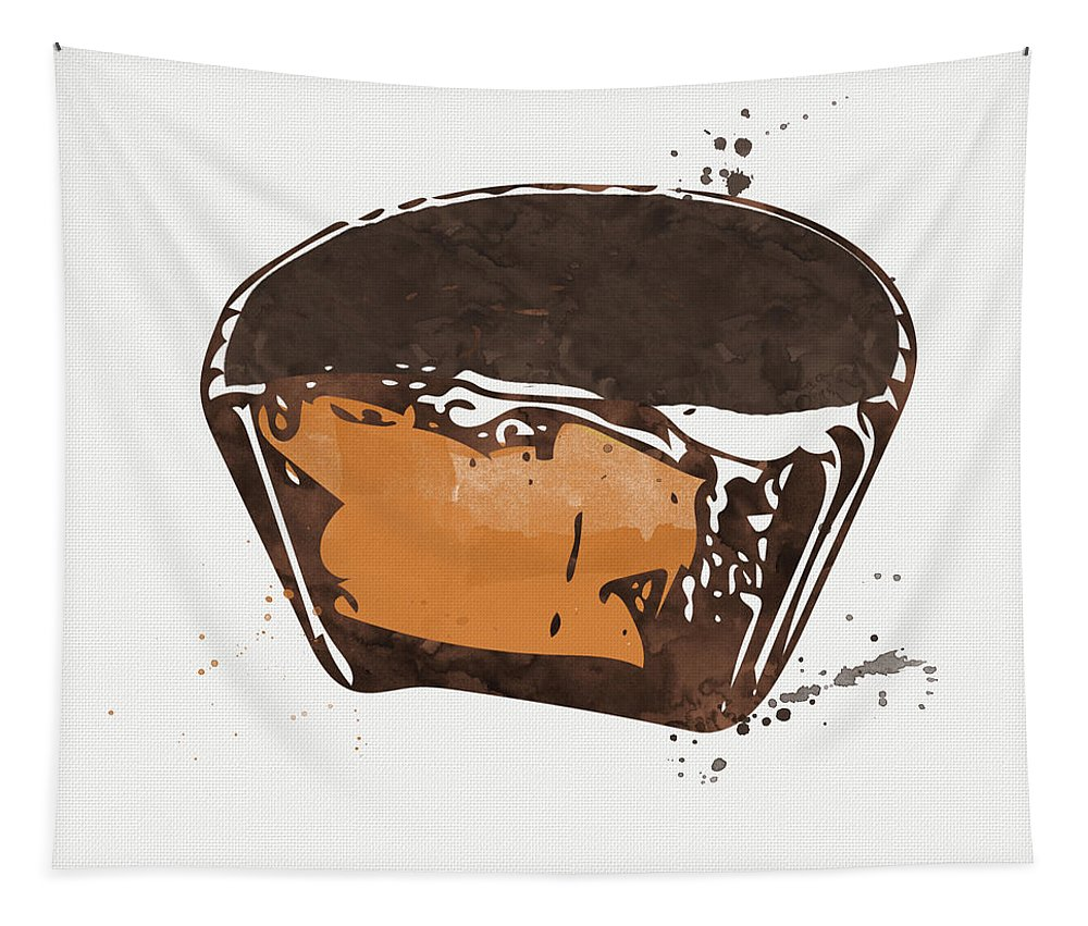 Chocolate Tapestry featuring the painting Peanut Butter Cup by Linda Woods