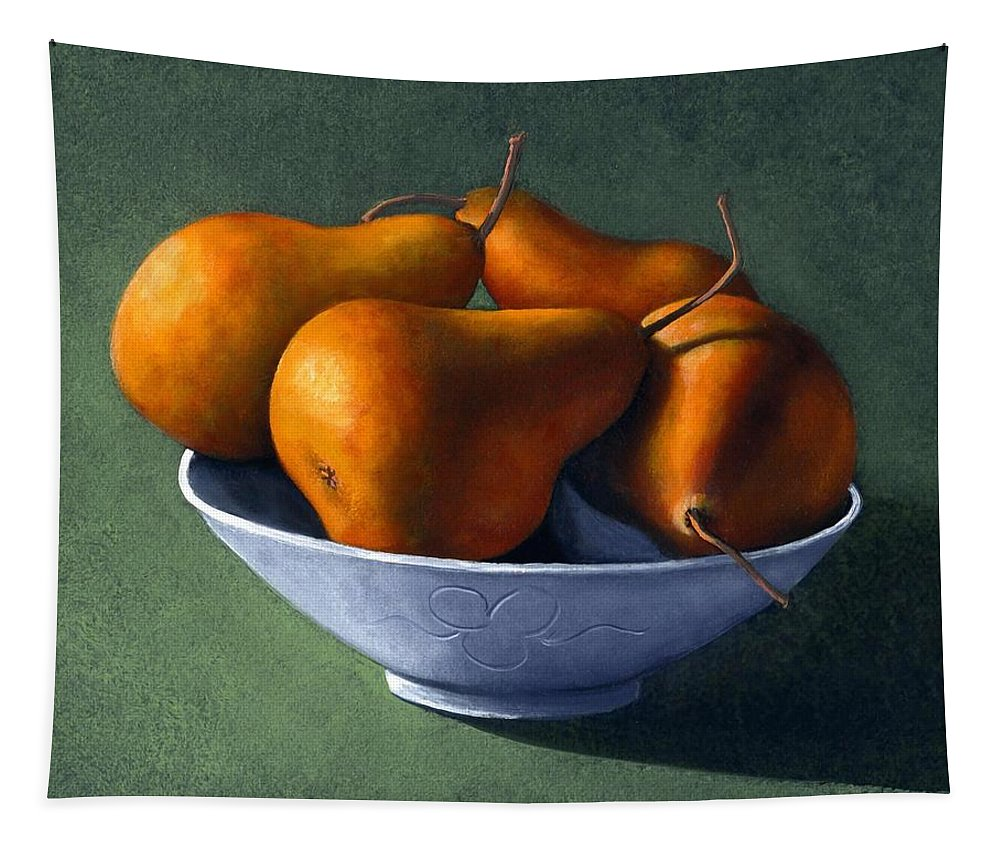 Still Life Tapestry featuring the painting Pears in Blue Bowl by Frank Wilson