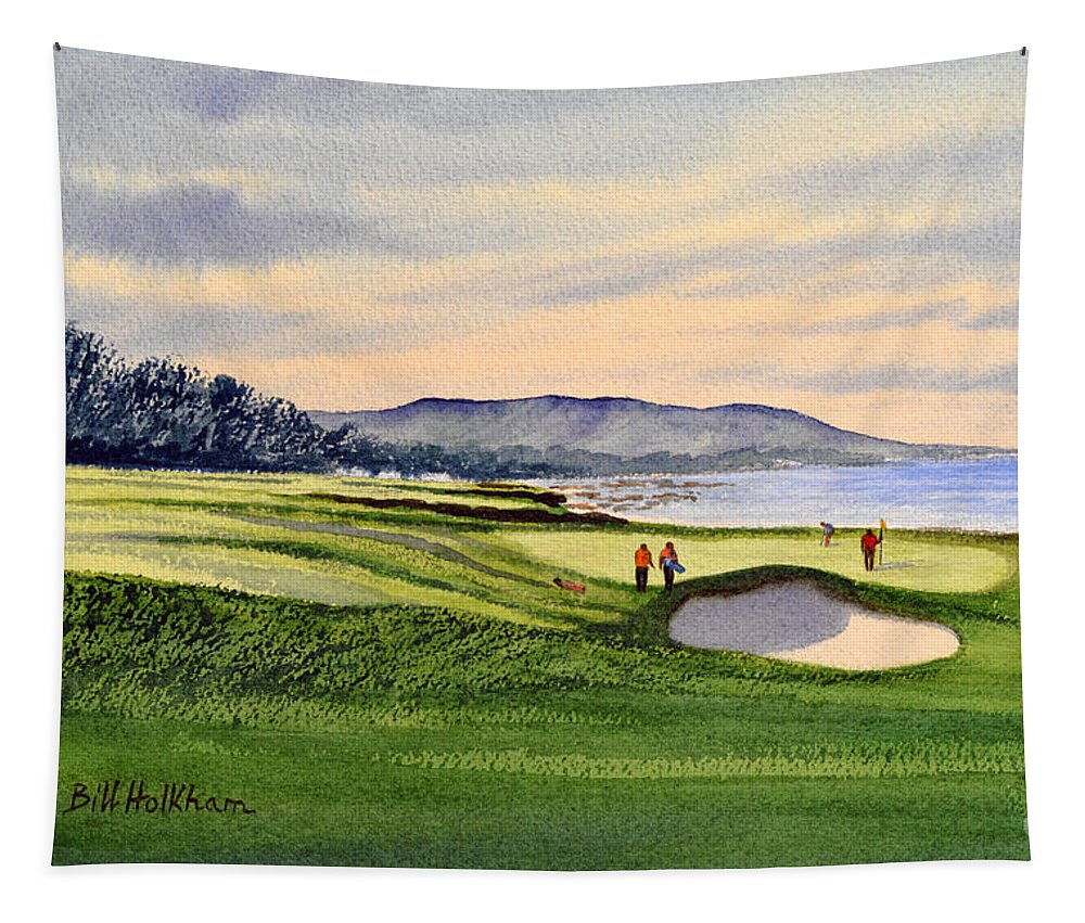Golf Tapestry featuring the painting Pebble Beach Golf Course 9th Green by Bill Holkham