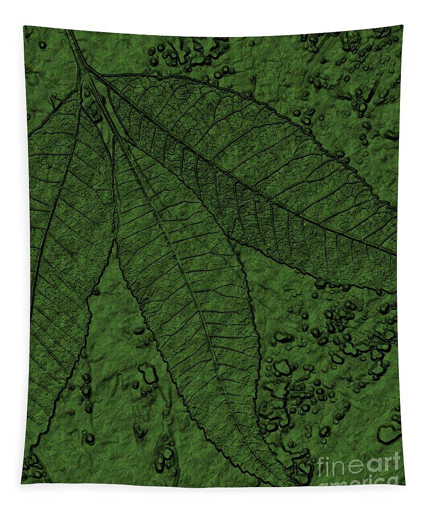 Beautiful Tapestry featuring the digital art Pecan Tree Leaves by Sandra Gallegos