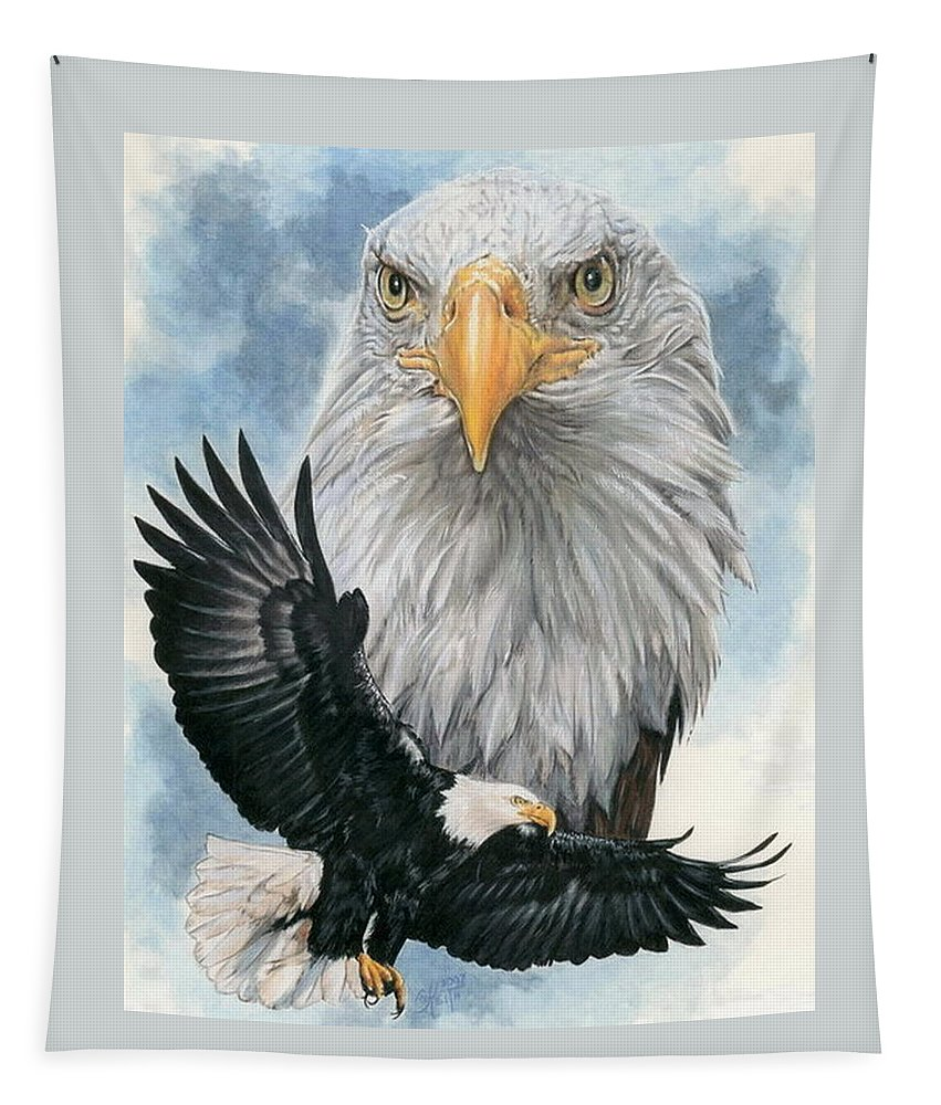 Bald Eagle Tapestry featuring the mixed media Peerless by Barbara Keith