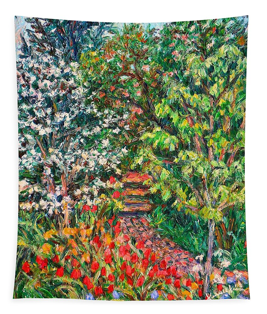 Garden Tapestry featuring the painting Fun With Peggys Garden by Kendall Kessler