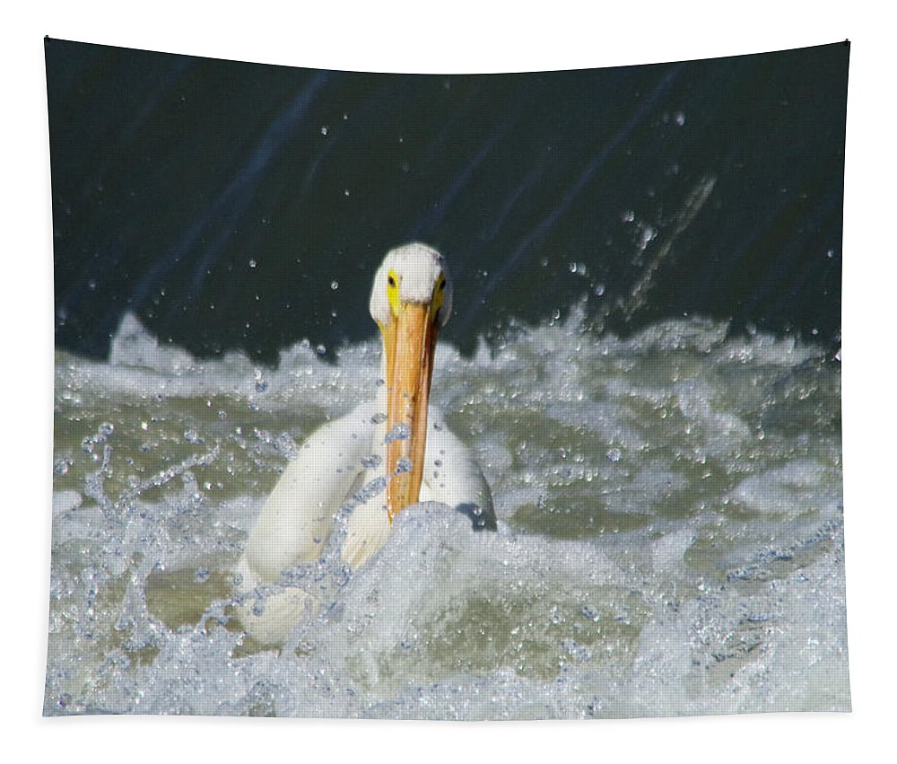 Pelican Tapestry featuring the photograph Pelican In Rough Water by Jeff Swan