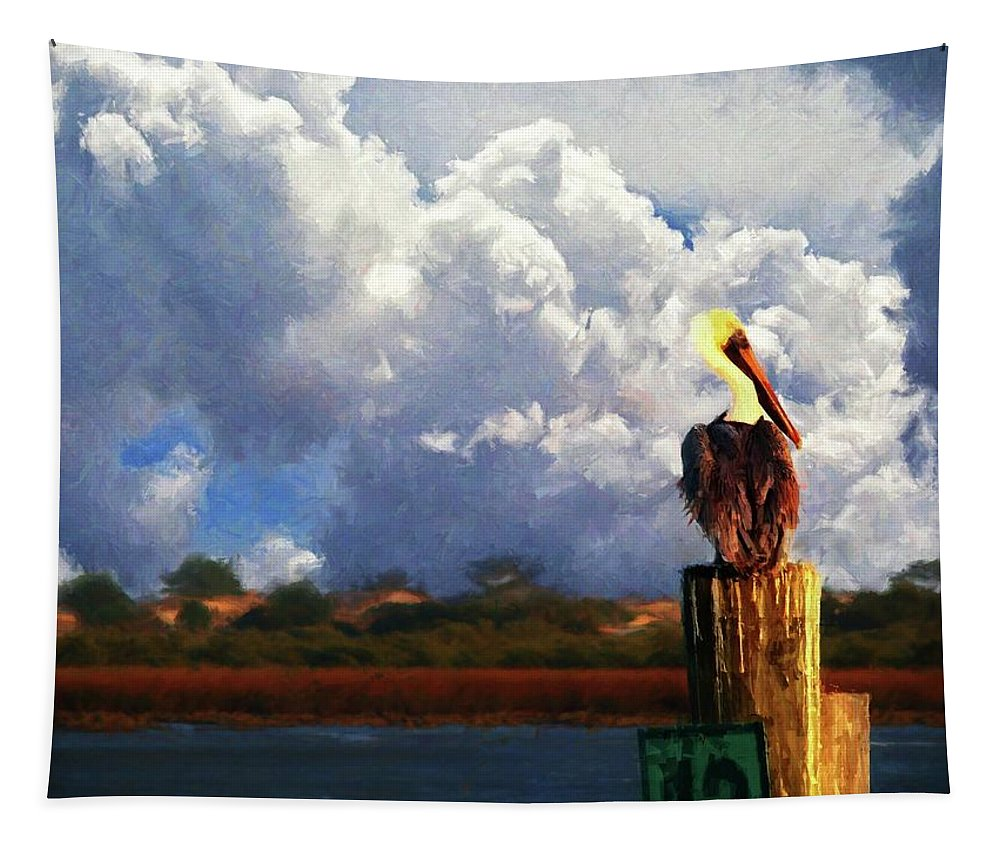 Alicegipsonphotographs Tapestry featuring the photograph Pelican Storms by Alice Gipson