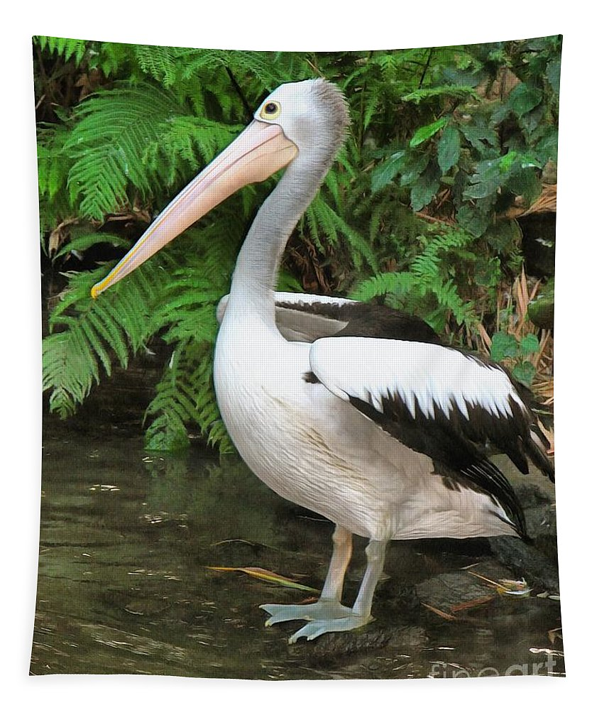 Pelican Tapestry featuring the photograph Pelican With A Bird Park In Bali by Sergey Lukashin