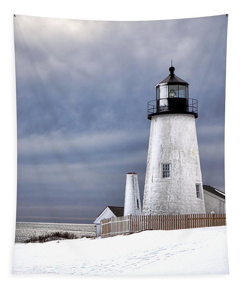 Maine Tapestry featuring the photograph Pemaquid Point Lighthouse In Winter by Olivier Le Queinec