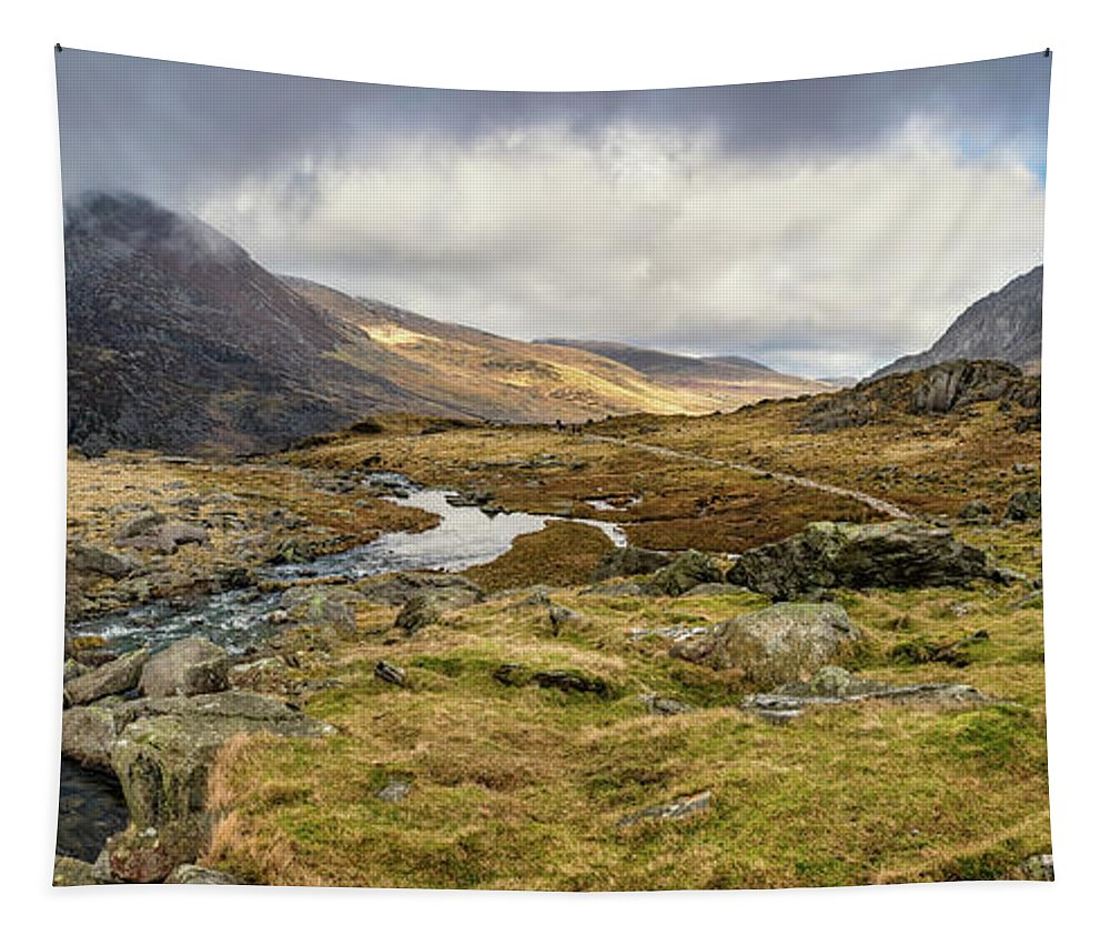 Tryfan Mountain Tapestry featuring the photograph Pen Yr Ole Wen And Tryfan Mountain by Adrian Evans