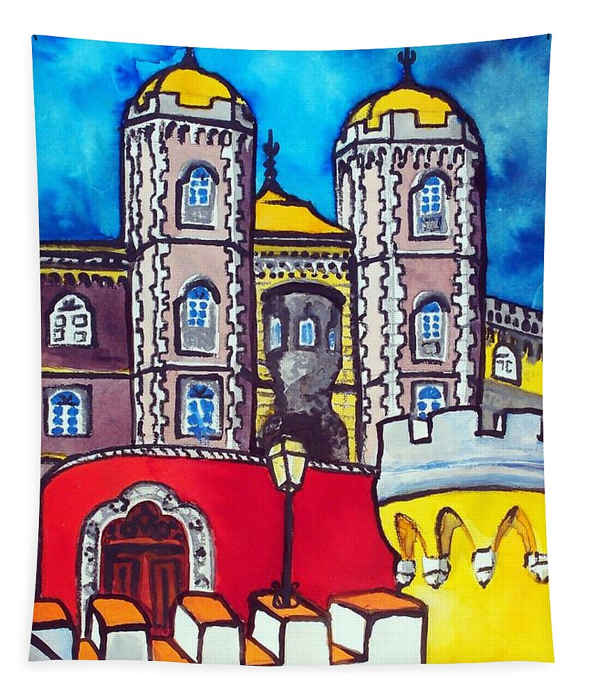 Palace Tapestry featuring the painting Pena Palace In Sintra Portugal by Dora Hathazi Mendes