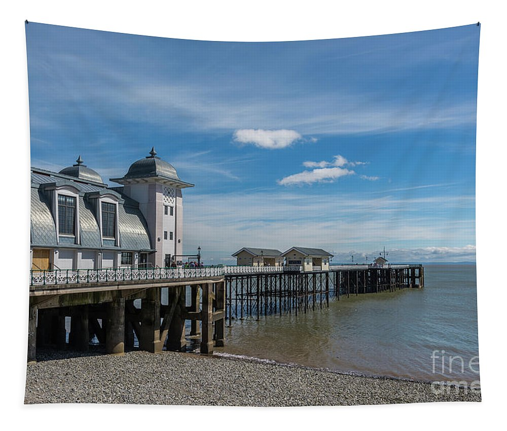 Penarth Pier Tapestry featuring the photograph Penarth Pier Glorious Day by Steve Purnell