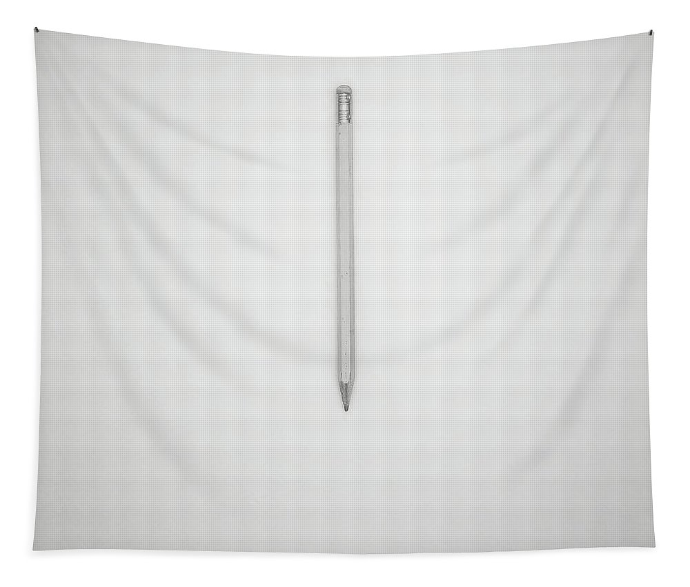 Pencil Tapestry featuring the photograph Pencil On A Blank Page by Scott Norris