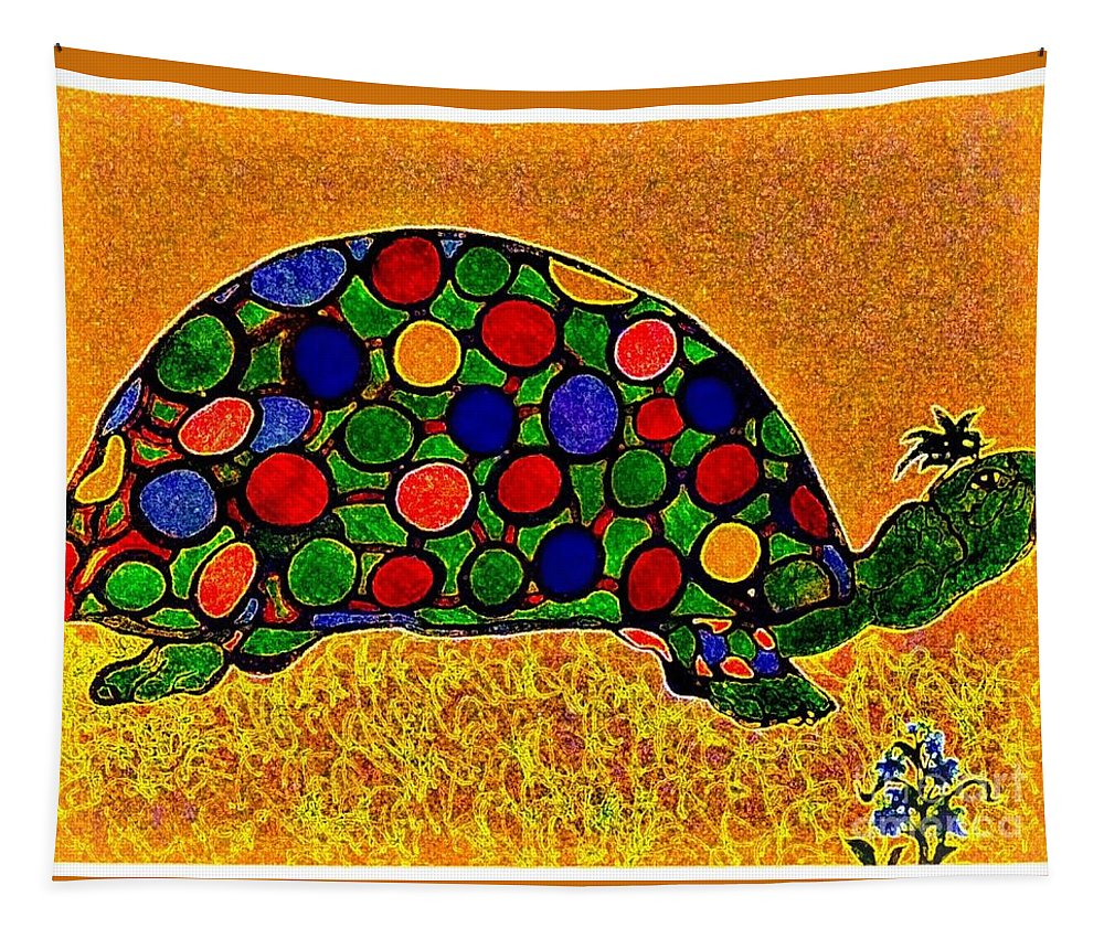 Turtle Tapestry featuring the painting Pencil Sketch And Water Color Turtle Of The Rainbow by Debra Lynch