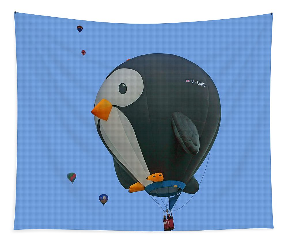 Penguin Tapestry featuring the photograph Penguin - Hot Air Balloon - Transparent by Nikolyn McDonald