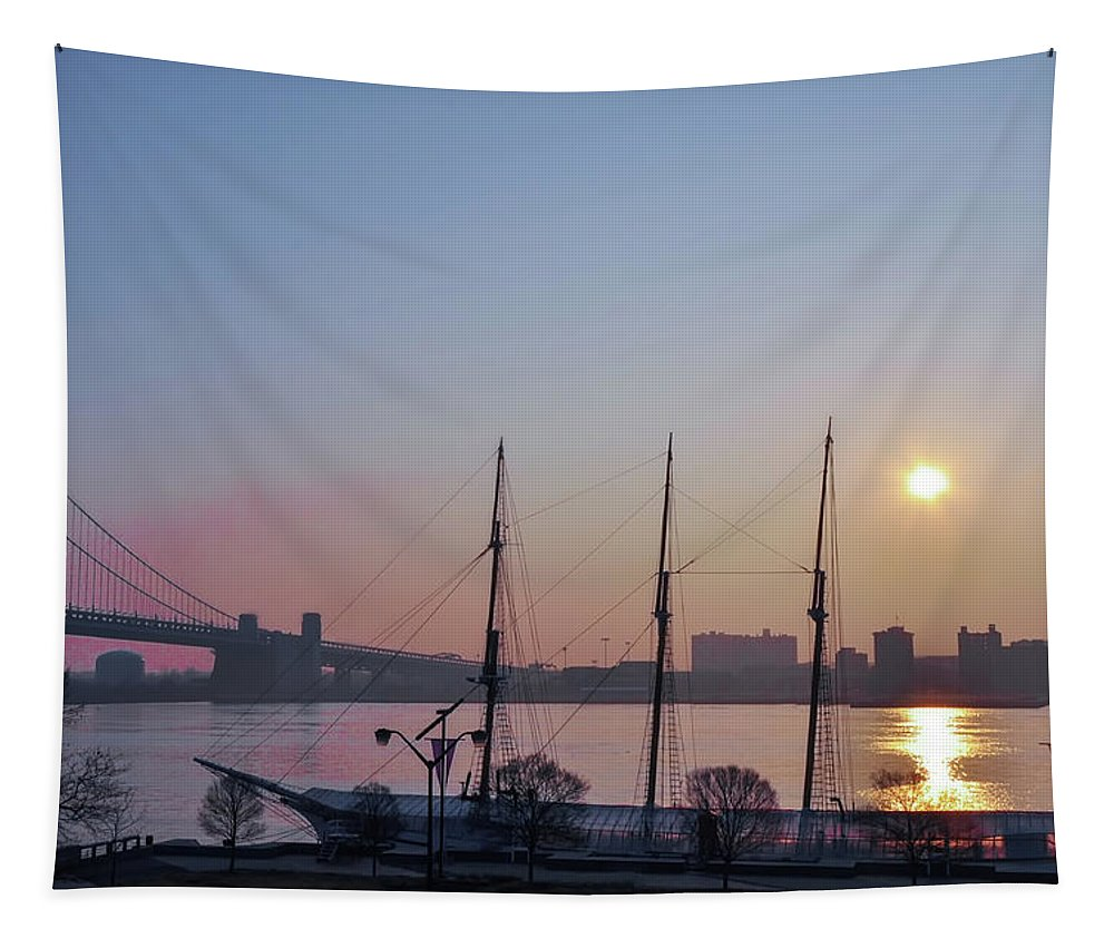 Penns Tapestry featuring the photograph Penns Landing Sunrise by Bill Cannon