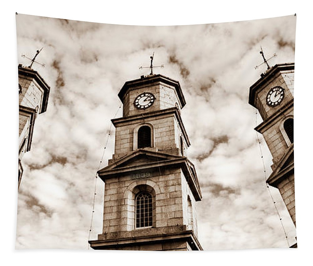 Penryn Tapestry featuring the photograph Penryn Clock Tower In Sepia by Terri Waters