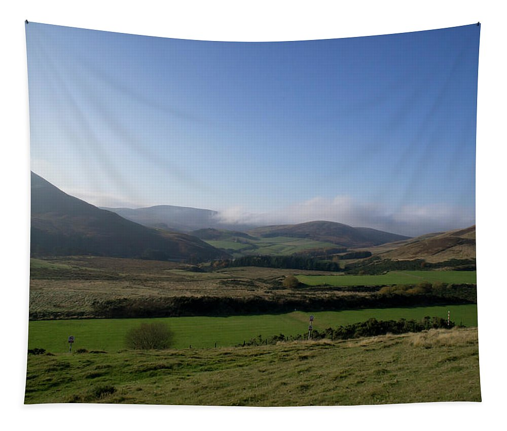 Pentlands Tapestry featuring the photograph Pentlands With Clouds And Some Sun. by Elena Perelman