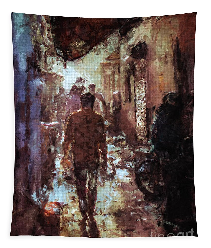 Alley Tapestry featuring the digital art People In Alley by Phil Perkins