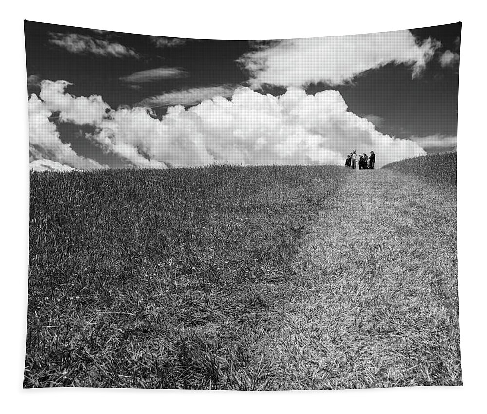 Joan Carroll Tapestry featuring the photograph People On The Hill Bw by Joan Carroll