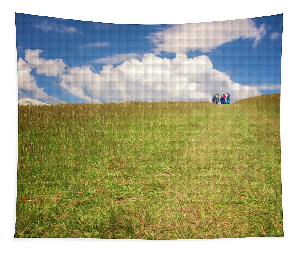 Joan Carroll Tapestry featuring the photograph People On The Hill Painterly by Joan Carroll