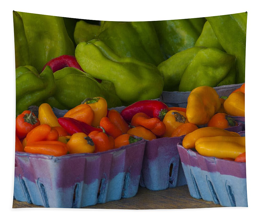 Pepper Tapestry featuring the photograph Peppers At The Produce Market by Mitch Spence