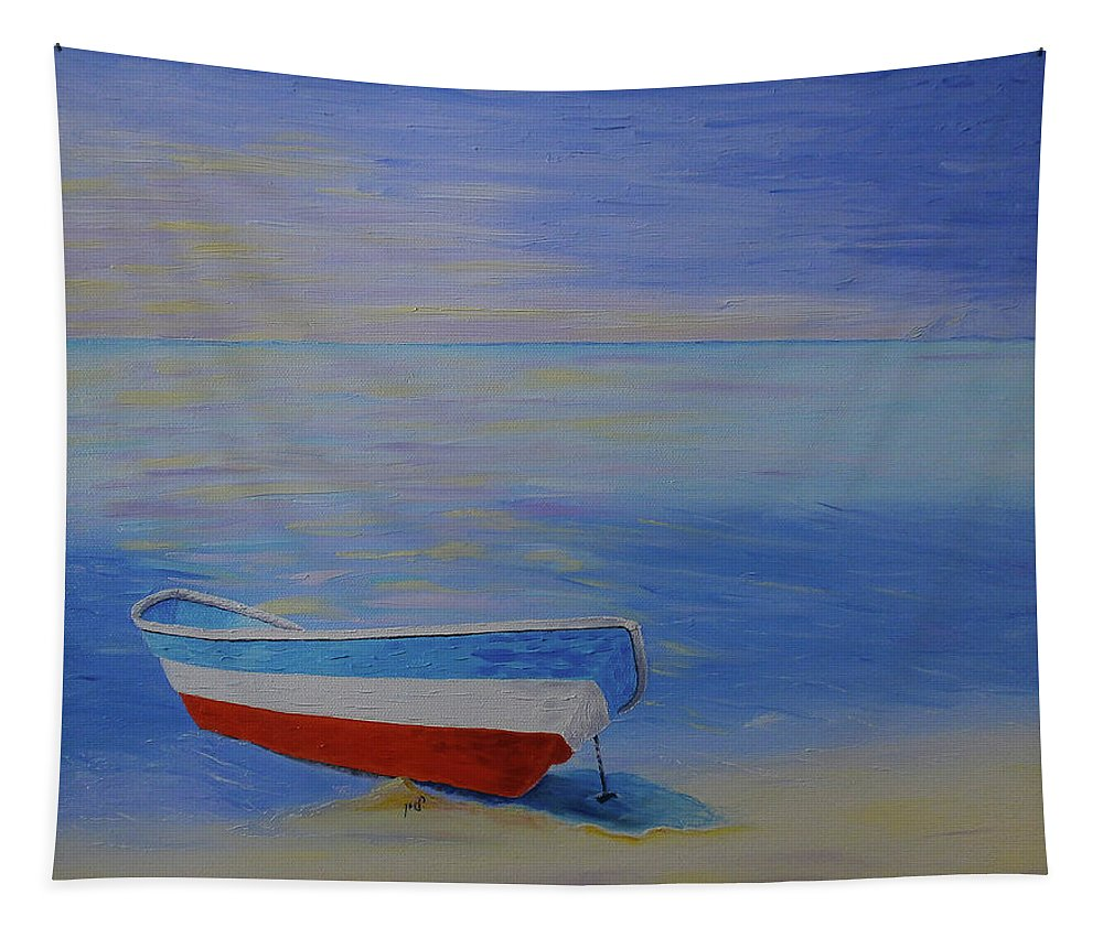 Seascape Tapestry featuring the painting Perfect Day by Maria Woithofer