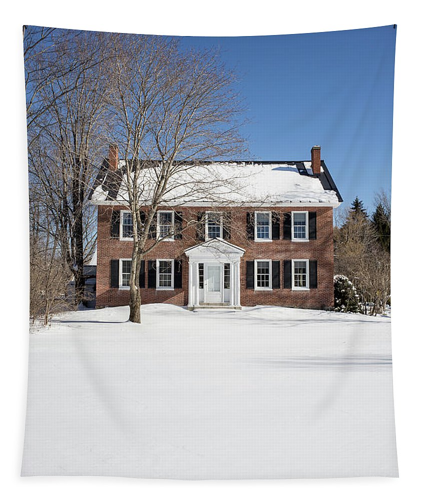 Brick Tapestry featuring the photograph Period Vintage New England Brick House In Winter by Edward Fielding