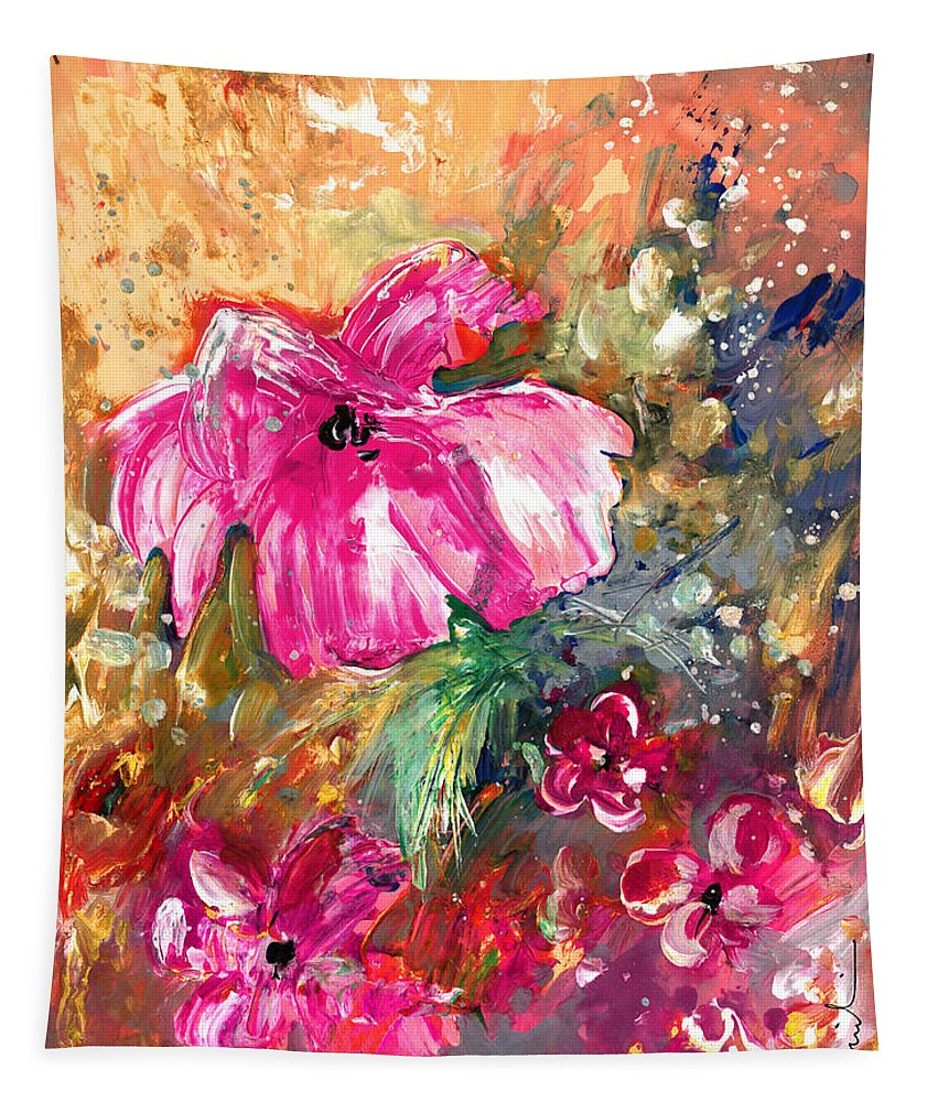 Floral Tapestry featuring the painting Perky Pink by Miki De Goodaboom