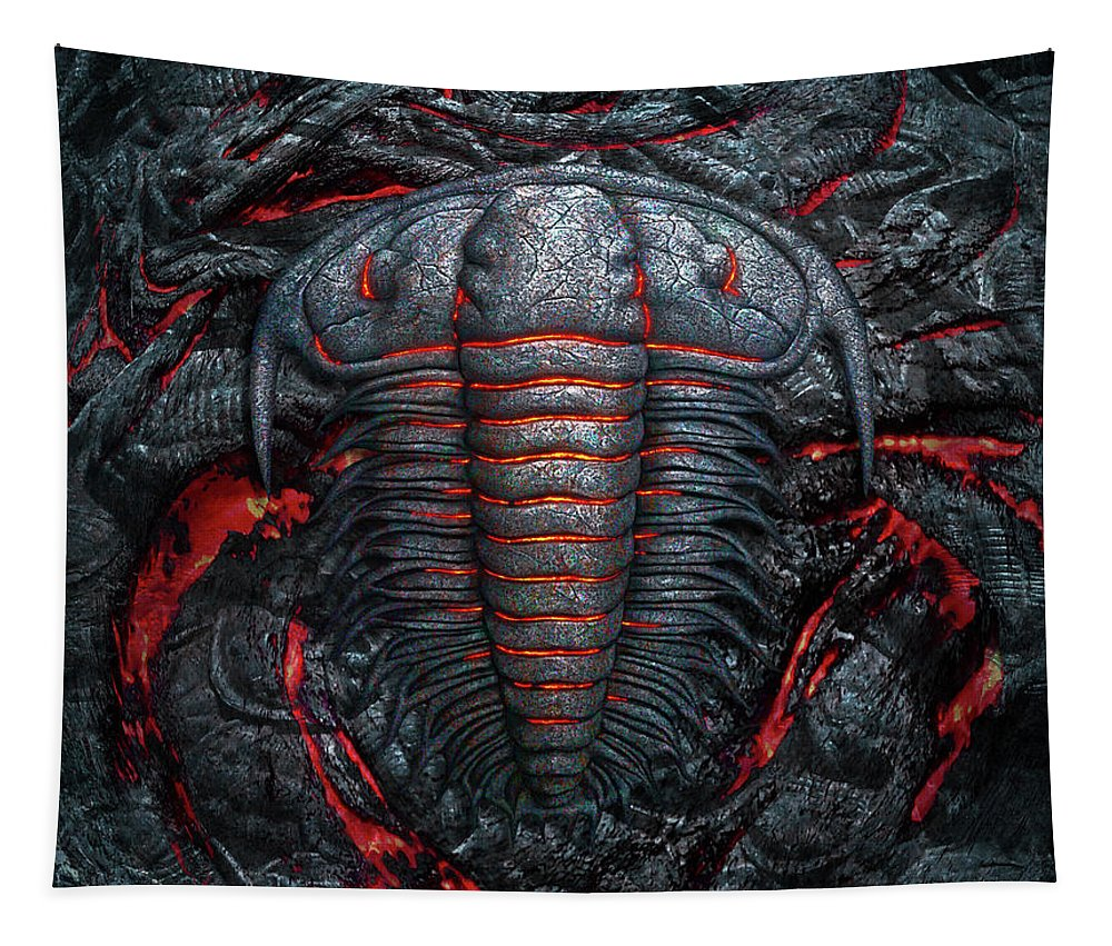 Trilobite Tapestry featuring the digital art Permian Heat by Jerry LoFaro