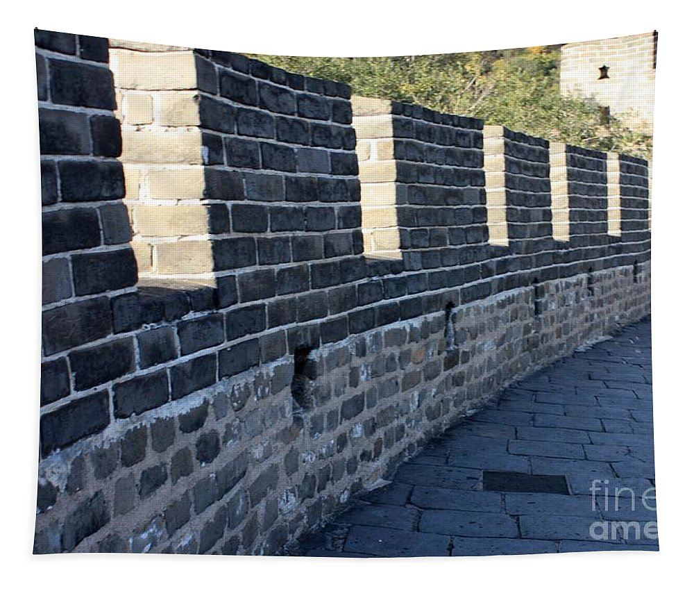 The Great Wall Of China Tapestry featuring the photograph Perspective At The Great Wall by Carol Groenen