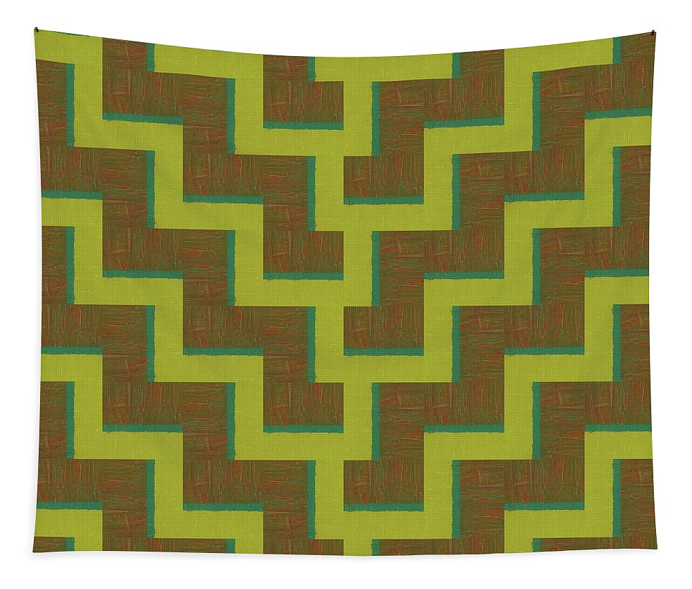 Zig Zag Tapestry featuring the painting Perspective Compilation 39 by Michelle Calkins
