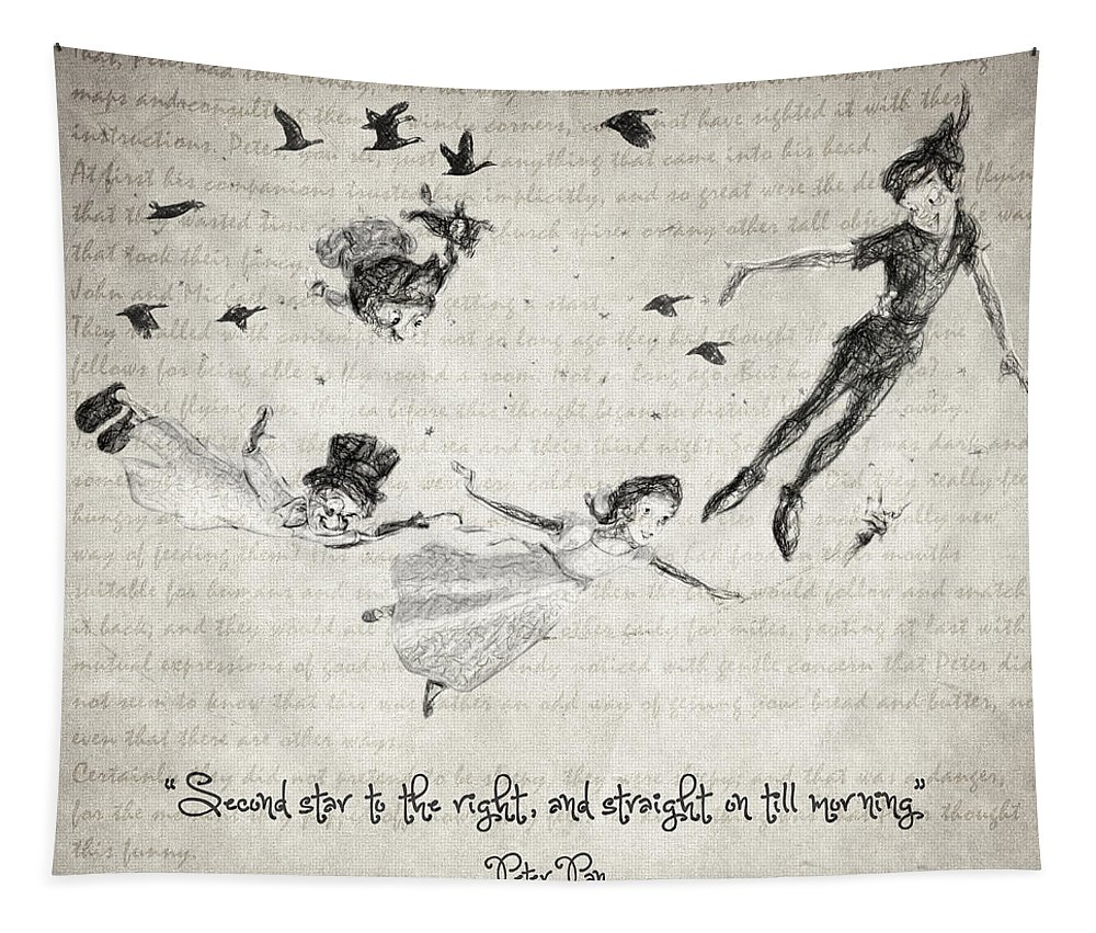 Peter Pan Tapestry featuring the drawing Peter Pan Quote by Zapista OU