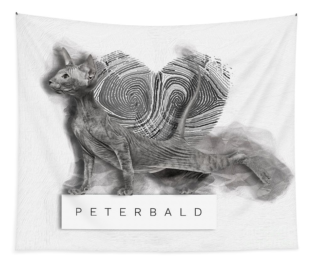 Imia Design Tapestry featuring the digital art Peterbald Kitten 01 by Maria Astedt