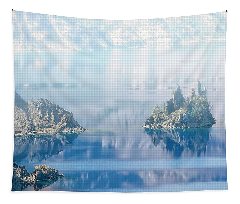 Phantom Ship In Mist Crater Lake Tapestry featuring the photograph Phantom Ship Island In Mist At Crater Lake by Frank Wilson