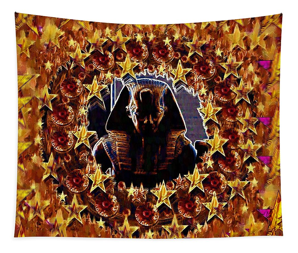 Pharaoh Tapestry featuring the mixed media Pharaoh In The Starry Night by Pepita Selles