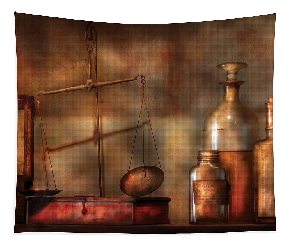 Savad Tapestry featuring the photograph Pharmacist - Precision Needed by Mike Savad