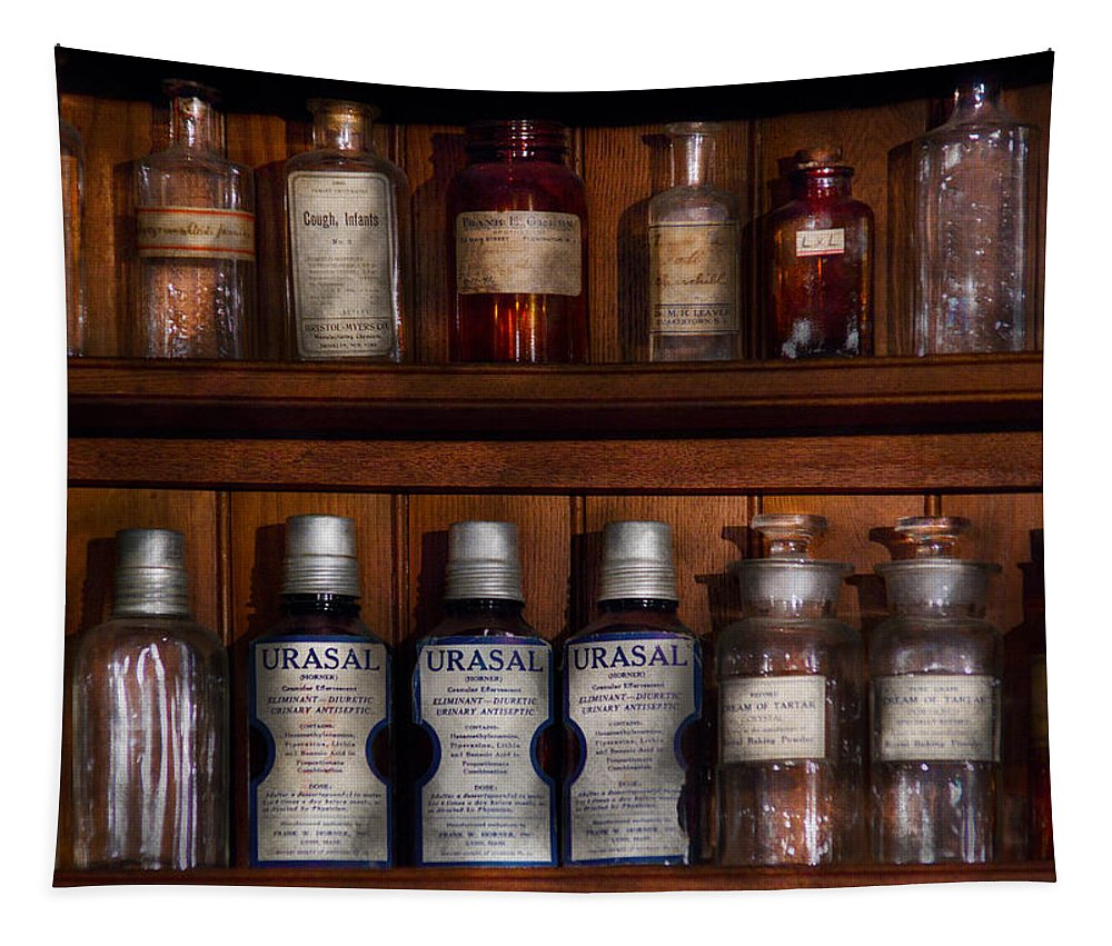 Savad Tapestry featuring the photograph Pharmacy - Bonafide Cures by Mike Savad