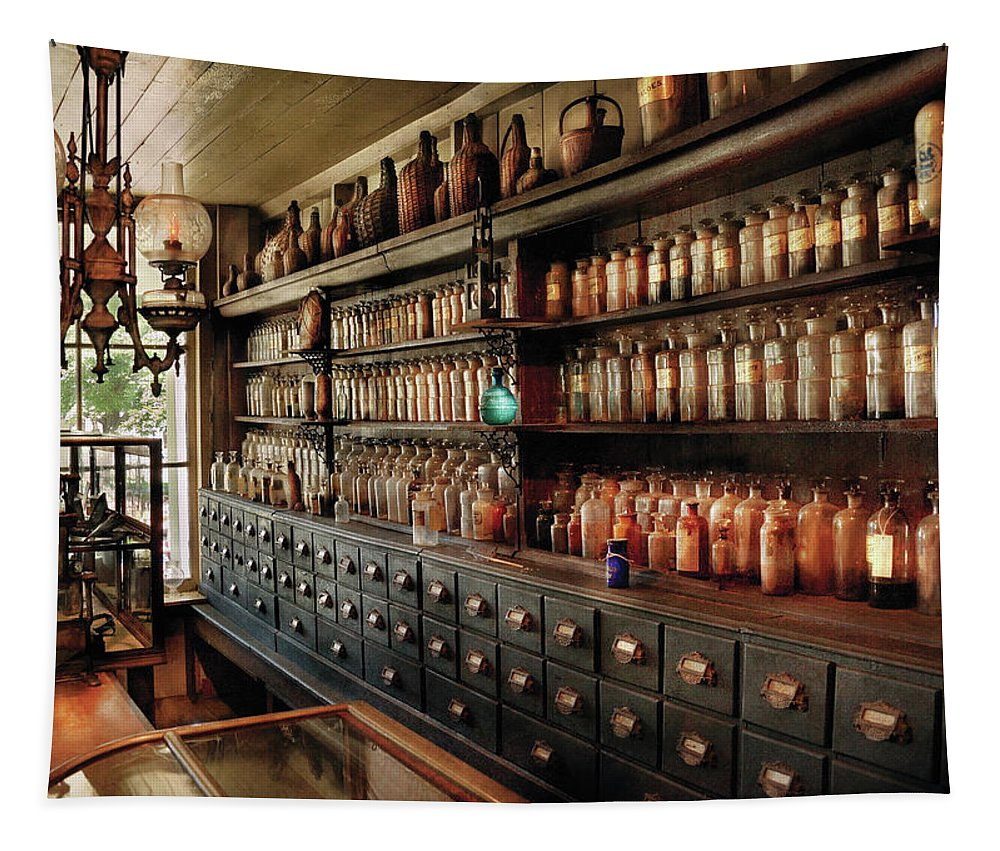 Pharmacy Tapestry featuring the photograph Pharmacy - So Many Drawers And Bottles by Mike Savad