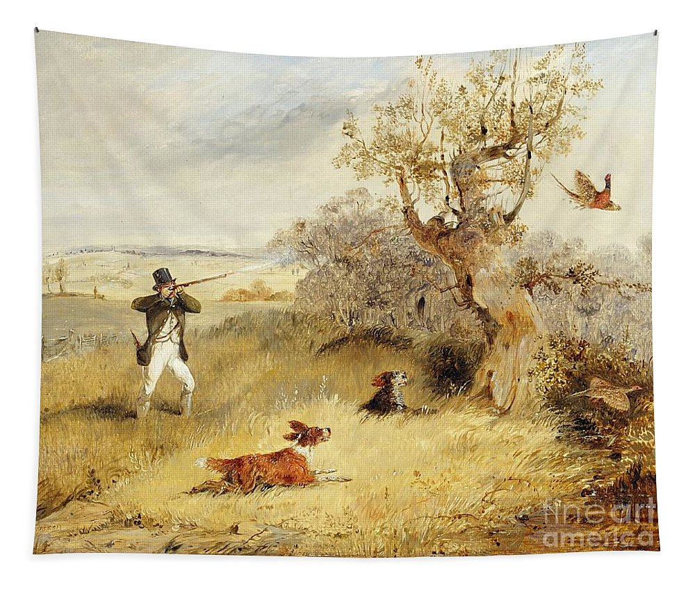 Pheasant Tapestry featuring the painting Pheasant Shooting by Henry Thomas Alken