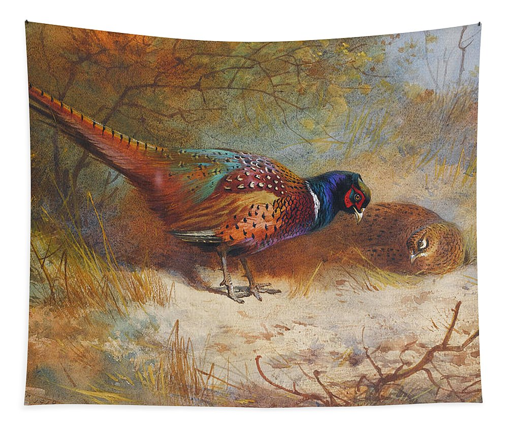 Pheasants Tapestry featuring the mixed media Pheasants By Thorburn by Archibald Thorburn