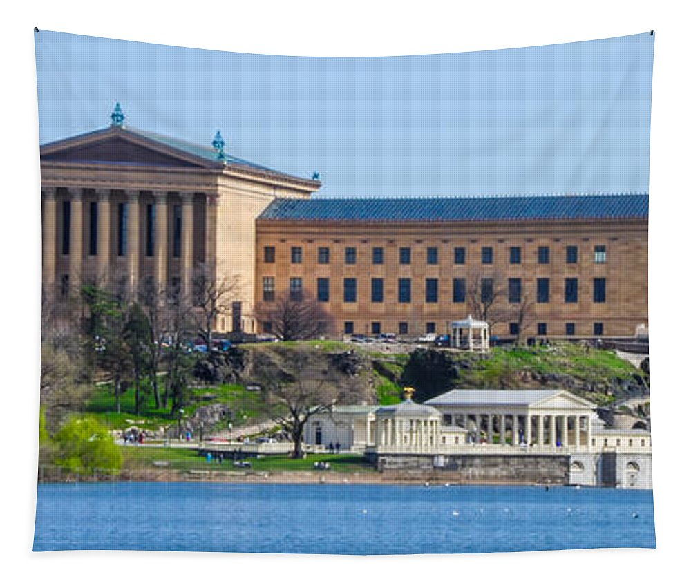 Philadelphia Tapestry featuring the photograph Philadelphia Art Museum And Waterworks Panorama by Bill Cannon