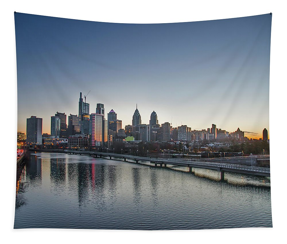 Philadelphia Tapestry featuring the photograph Philadelphia At Dawn From The South Street Bridge by Bill Cannon