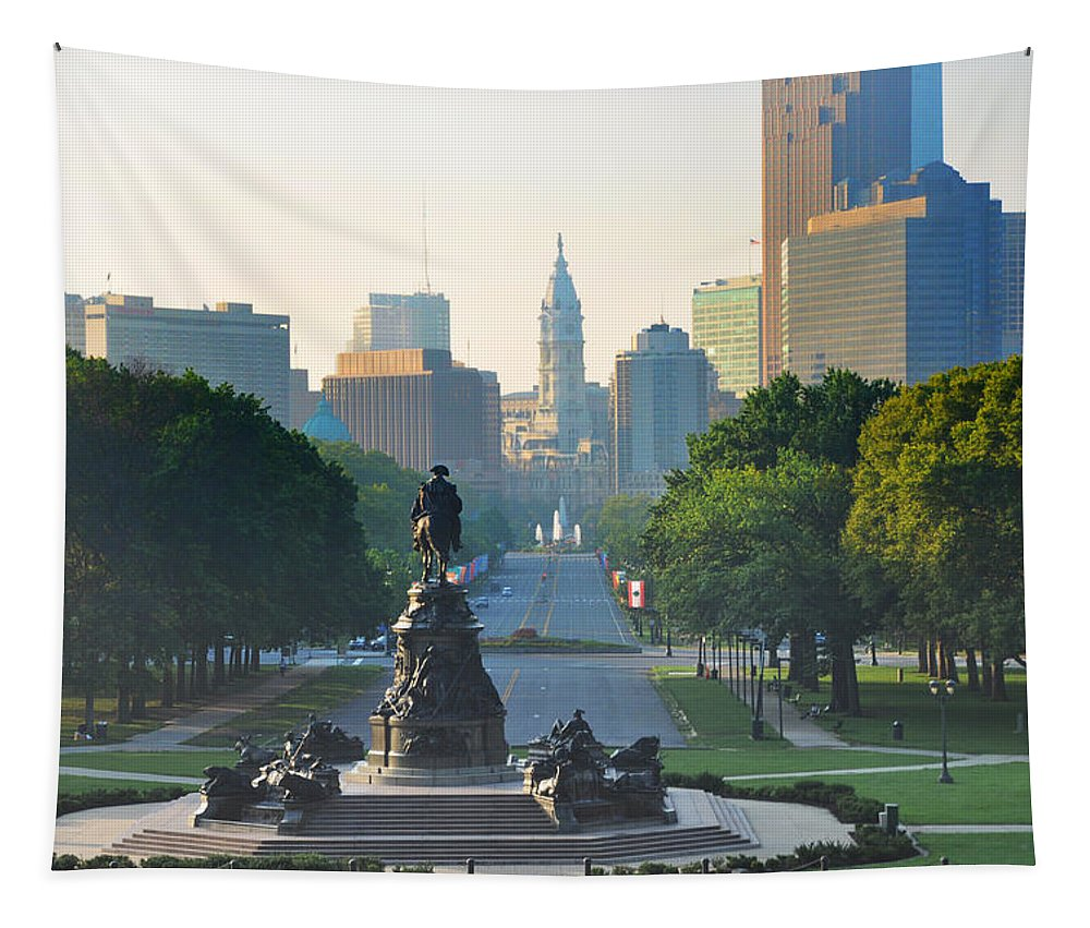 Philadelphia Tapestry featuring the photograph Philadelphia Benjamin Franklin Parkway by Bill Cannon