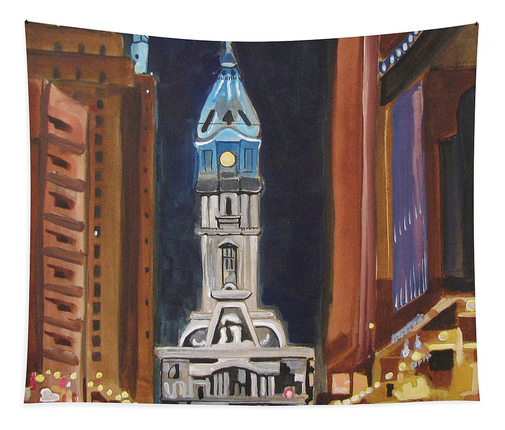 Landmarks Tapestry featuring the painting Philadelphia City Hall by Patricia Arroyo