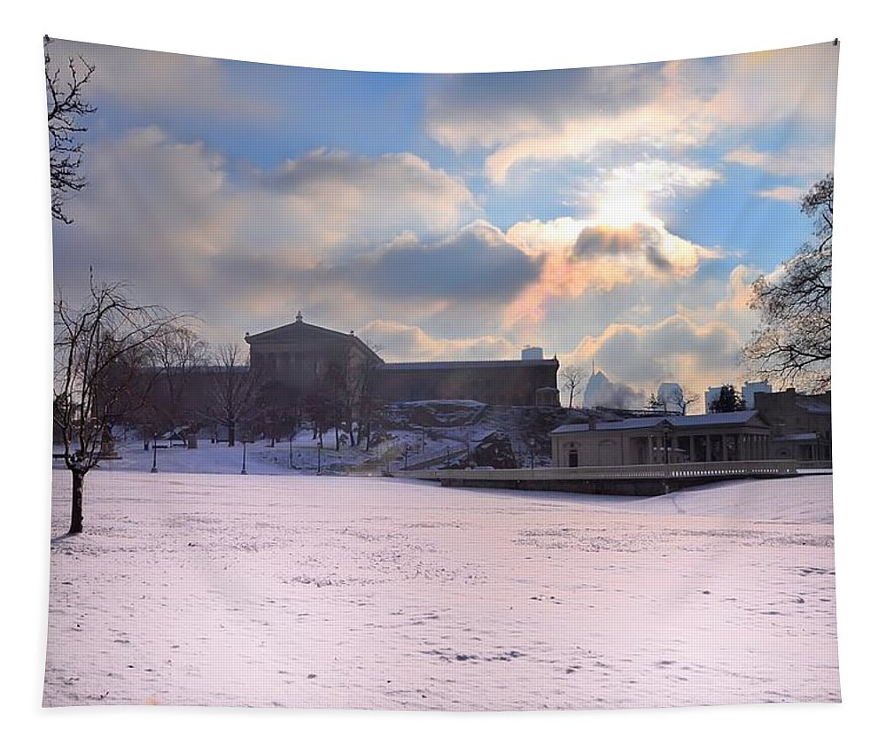Philadelphia Tapestry featuring the photograph Philadelphia Museum Of Art At Winter Sunrise by Bill Cannon