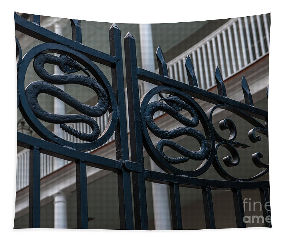 Snake Gate Tapestry featuring the photograph Phillips Simmons Snake Gate by Dale Powell